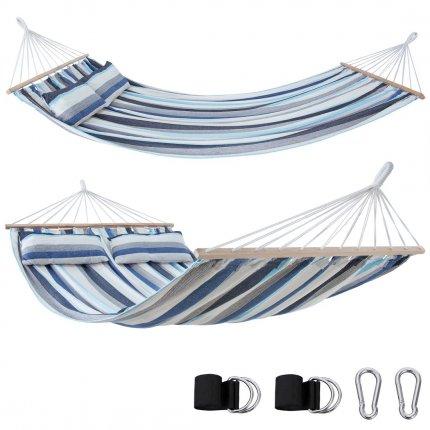 yourGEAR Kauai Aqua - Hängematte 240 x 160 cm   300 kg   Baumwolle   Stabhängematte, Kissen, Befestigung-Set