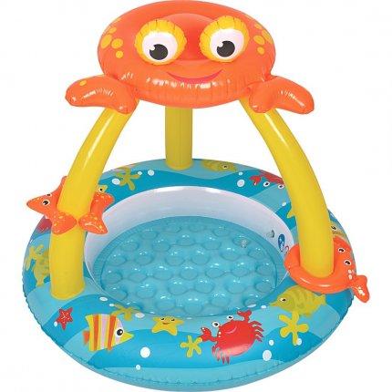 Jilong Crab Baby Pool Plus - Kinder Planschbecken mit aufblasbarem Boden und Sonnenschutz für Kinder von 1 - 3 Jahren,