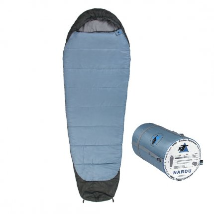 10T Nardu - Mumien-Schlafsack bis -18°C mit Kapuze, 230x80 cm, 1900g leicht, 3-4 Jahreszeiten, Camping & Trekking