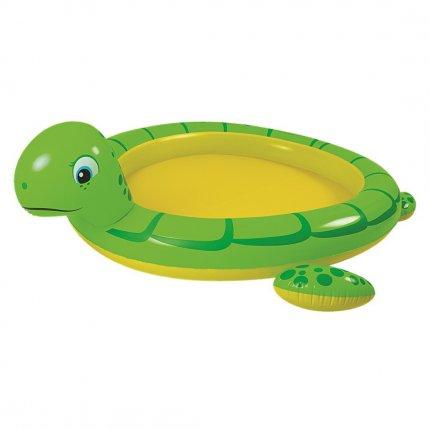 Jilong Giant Turtle Spray Pool - großes Kinder Planschbecken mit Wassersprüher, für Kinder von 2 - 6 Jahren, 214x189x61