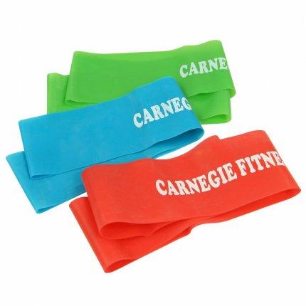 Carnegie 3x Trainingsband Latex Fitness-Band Expander Widerstand Übungs-Loop 52x5 cm, Expander-Tube