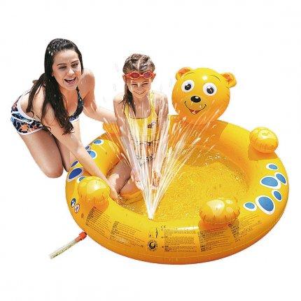 Jilong Bear Spray Pool - Kinder Planschbecken mit Wassersprüher, für Kinder von 2 - 6 Jahren, 130x118x45 cm