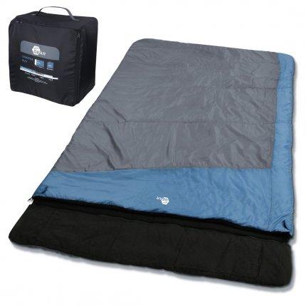 yourGEAR 2 Mann Schlafsack Sumatra Duo -7°C Doppel Deckenschlafsack 230x160cm Futter aus 100% Baumwolle Blau Grau