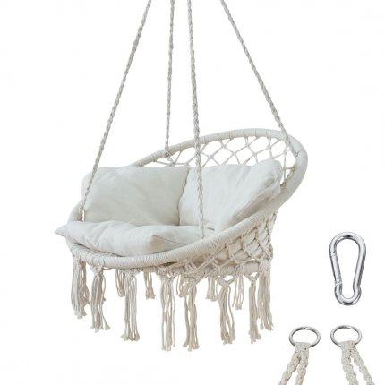 yourGEAR Boracay Sand - Hängesessel mit Sitz-Polster max 240kg Hängeschaukel 360° Swing Chair Schwebe-Sessel
