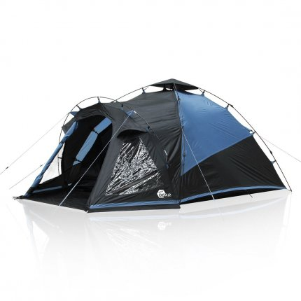 yourGEAR Schnellaufbau Zelt Aosta 3 - Quick Up Kuppelzelt mit Fenster Vorbau Belüftung wasserdicht mit 5000 mm Blau Grau