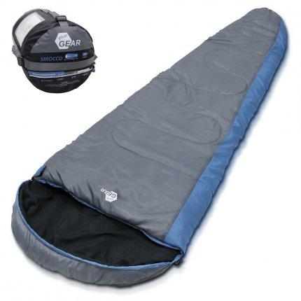 yourGEAR Schlafsack Sirocco -18°C komfortabler Mumienschlafsack 230x80 cm 3-4 Jahreszeiten Blau Grau extra warm