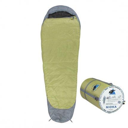10T Nioka - Mumien-Schlafsack bis -12°C mit Kapuze, 230x80 cm, 1560g leicht, 3 Jahreszeiten, Camping & Trekking