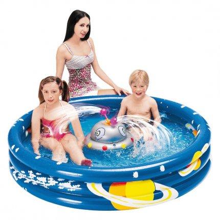Jilong Ufo Splash Pool - Kinder Planschbecken mit Wassersprüher, für Kinder von 2 - 6 Jahren, Ø150x30 cm