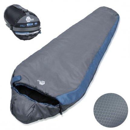 yourGEAR Schlafsack Pali -3°C Mumienschlafsack 220x75 cm Sommerschlafsack Blau Grau leicht warm kleines Packmaß