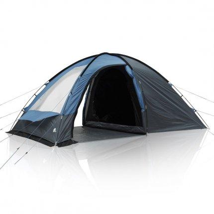 yourGEAR Zelt Chinook 4 Personen Kuppelzelt Wohnraum 2 Seiteneingänge Fenster Stehhöhe Wasserdicht 5000 mm Blau Grau