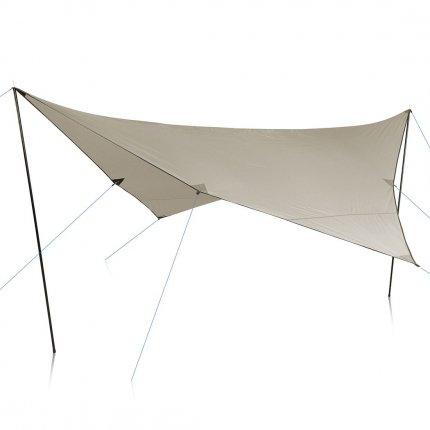 yourGEAR Sonnensegel Atrani 3 x 3 m Sonnenschutz Wetterschutz Tarp 2 Auftstellstangen Wasserdicht 5000 mm Beige Grau
