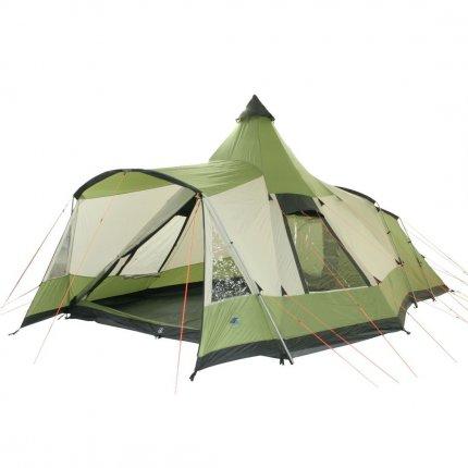 10T Navaho 470+ - 5-Personen Tunnel-Zelt mit Pyramiden-Wohnraum in Stehhöhe und Vordach eingenähte Bodenwanne WS=5000mm