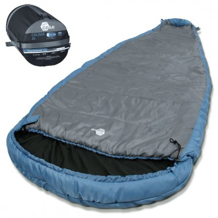yourGEAR Campingschlafsack Calima XL -10°C extrem breiter Ellipsen-Schlafsack 230x110cm mit Kapuze Blau Grau