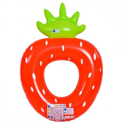 Jilong Strawberry Ring - XXL Schwimmring, Poolsessel im Style einer Erdbeere, aufblasbare Wassermatratze 167x116x32 cm,
