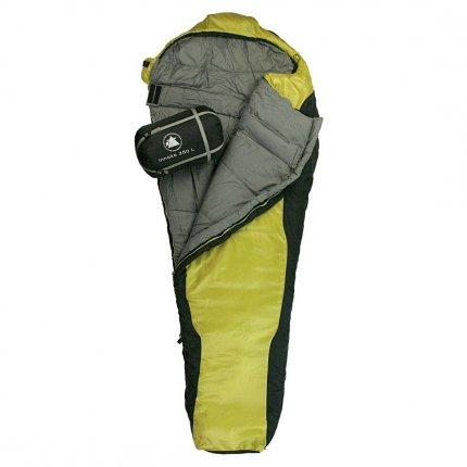 10T Innoko 350L - Einzel Mumien-Schlafsack 215x85/55cm schwarz/gelb Winterschlafsack bis -21°C