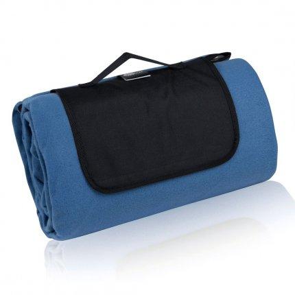 yourGEAR Blue XL Picknickdecke 200x200 Camping Fleece Decke wasserdichte & isolierte Stranddecke