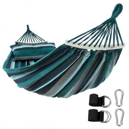 yourGEAR Bali Smaragd - Hängematte 220 x 120 cm | 240 kg | Baumwolle | Stabhängematte, Kissen, Befestigung-Set
