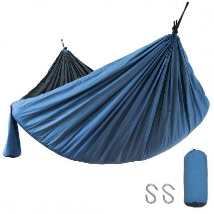 yourGEAR Zion - ultraleichte Hängematte 270 x 140 cm doppellagiges Nylon 60g/m² blau / grau max 240kg TÜV geprüft