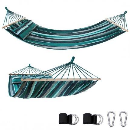 yourGEAR Kauai Smaragd - Hängematte 240 x 160 cm | 300 kg | Baumwolle | Stabhängematte, Kissen, Befestigung-Set