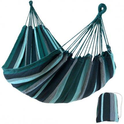 yourGEAR Maui Smaragd - Hängematte 200 x 120 cm | 240 kg | Baumwolle | Tuchhängematte | Packtasche