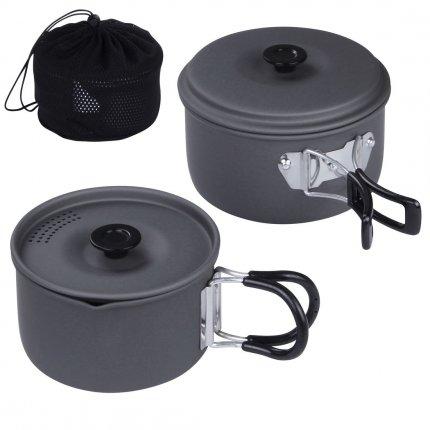 10T Ranger II - Camping Kochset für 1 - 2 Personen, Alu Trekking Kochgeschirr, 2x Topf mit Deckel mit 1,2L und 1L