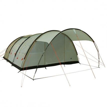 10T Leighton 6 - 6-Personen Tunnel-Zelt mit großem Vordach und Voll-Bodenplane 2m Stehhöhe WS=5000mm