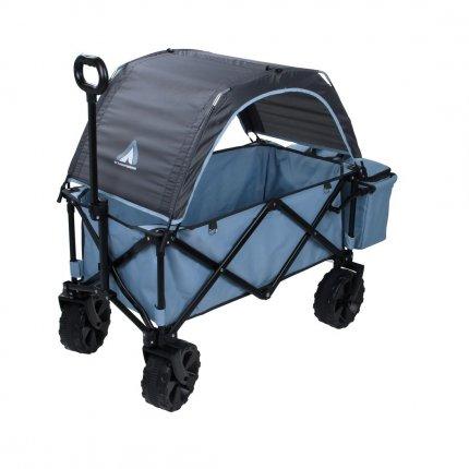 10T Roof Trolley - überdachter Bollerwagen, Trolley mit Heckfach und Kühltasche, Strandwagen mit breiten Reifen,