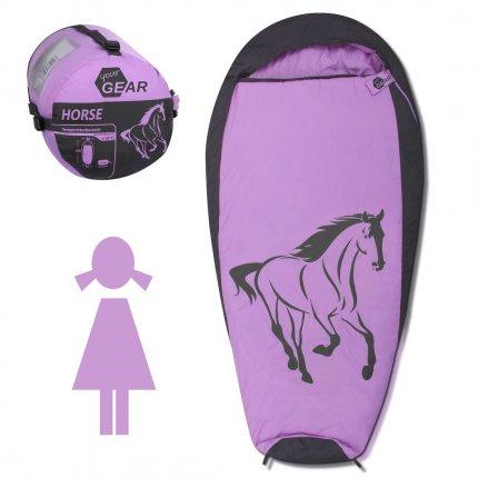 yourGEAR Kinderschlafsack Horse Mumienschlafsack 180x90 cm komfortabler Sommerschlafsack 300 g/m² Rosa Grau extra warm