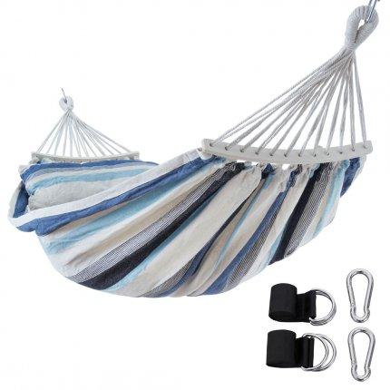 yourGEAR Bali Aqua - Hängematte 220 x 120 cm   240 kg   Baumwolle   Stabhängematte, Kissen, Befestigung-Set