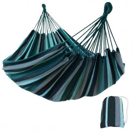 yourGEAR Cebu Smaragd - Hängematte 220 x 160 cm   300 kg   Baumwolle   Tuchhängematte   Packtasche