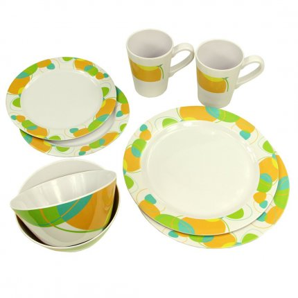 10T Arvon Dinnerware - 8-teiliges Melamine Geschirr, 2 Becher, 4 Teller in 2 Größen, 2 Schüsseln
