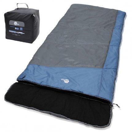 yourGEAR XXL Schlafsack Sumatra -7°C Deckenschlafsack 230x100 cm Baumwoll-Futter abnehmbares Kopfteil Blau Grau
