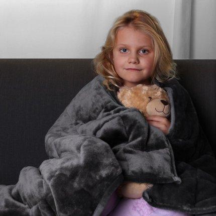 yourGEAR Therapiedecke 3 kg schwere Gewichtsdecke für Kinder, beruhigende Anti-Stress Tagesdecke, 100x150cm Bettdecke