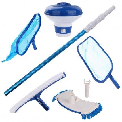 yourGEAR Pool Reinigungsset PCS - 6-teiliges Set zur Poolreinigung mit Stange Kescher Bürste Bodensauger Dosierschwimmer