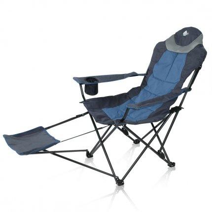 yourGEAR Campingstuhl Pineto - XXL Relax Klappstuhl - Stuhl mit Fußauflage, verstellbarer Rückenlehne und Getränkehalter