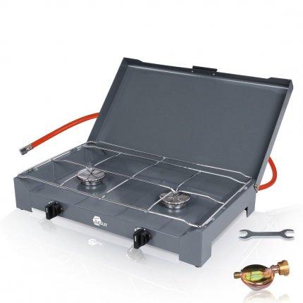 yourGEAR 2-Flamm Gaskocher Cucina 4.6 KW Brennerleistung Campingkocher mit 80cm Gas-Schlauch und 50mbar Druckminderer